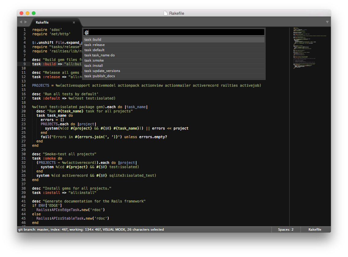 Rakefile Tasks In Sublime Text 3 Symbol List